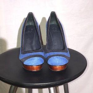 Tory Burch Shoes - Tory Burch Blue and Black Wood Heels